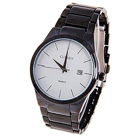 PIXNOR CURREN 8106 ronda Dial tungsteno venda de acero Mens cuarzo reloj con calendario (negro