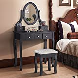Mecor Vanity table Makeup Set Dressing Table with Stool,5 Drawers and Oval Mirror ,Black