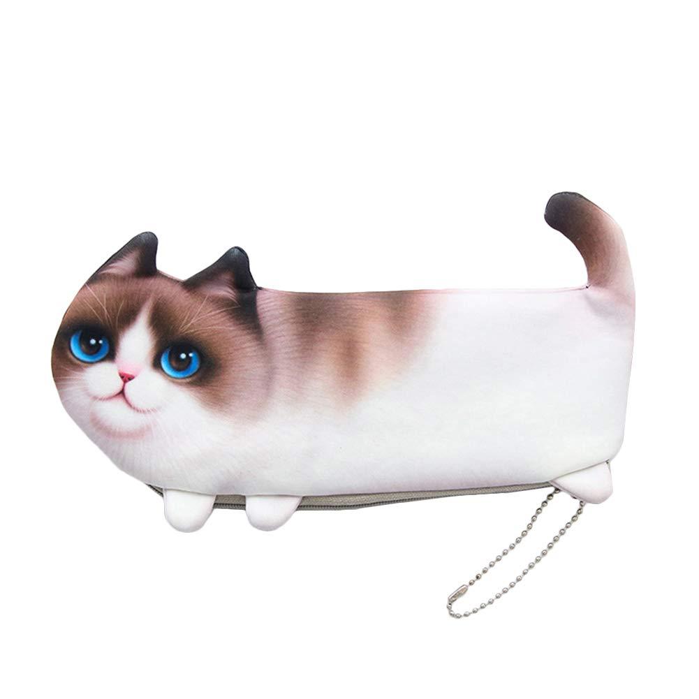 VelvxKl Organizzatore della borsa della borsa della moneta della carta della penna della cancelleria del sacchetto molle di trucco del panno molle bello del gatto Grey