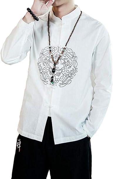 Camisa Hombre Blusa Algodón y Lino Top Hebilla de Disco Impreso Color Sólido Shirt Casual Folk-Custom Estilo Chino Ligero y Transpirable Primavera Verano: Amazon.es: Ropa y accesorios