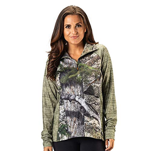 Shadow Half Zip Pullover - TrailCrest Women's Long Sleeve 1/4 Zip Camo Shirt - Moisture Wicking, 4 Way Stretch - Perfect Outwear and Fitness Apparel