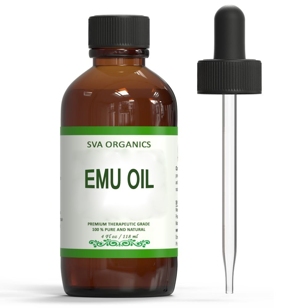 Emu Oil 4 Oz - 100% Pure Natural,Cold Pressed by SVA Organics | Used For Acne Treatment, Hair Care,Anti-aging,Scars,Arthritis,Psoriasis,Eczema |Natural Healing Oil