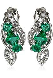 10k White Gold Created White Sapphire Three Stone Earrings
