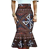 Abetteric Womens Mermaid Midi Dashiki Africa Floral Printed Fit Bodycon Skirt 7 M