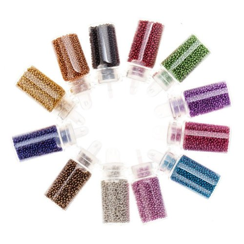 [Nail Art-TOOGOO(R) Decorations Nail Art Kit mini caviar beads & Nail Art glitter in 12 assorted] (Costume Caviar)