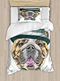 english bulldog bed - Ambesonne English Bulldog Twin Size Duvet Cover Set, Dog in a Hat and Bow Tie Animal Design with Formal Attire Pure Breed, Decorative 2 Piece Bedding Set with 1 Pillow Sham, Teal Brown Pink