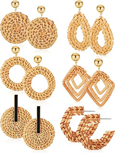 6 Pairs Woven Rattan Earrings Geometric Straw Earrings Bohemian Rattan Hoop Earrings Sets for Women Girls Supplies, Brown (Style Set 3)