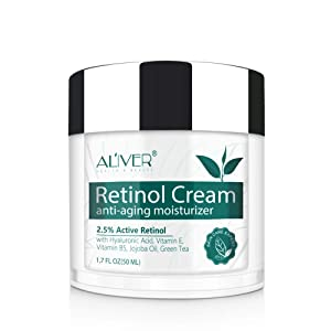 Retinol Moisturizer Miracle Cream for Face - with Retinol, Hyaluronic Acid, Vitamin E and Green Tea. Best Night and Day Moisturizing Cream