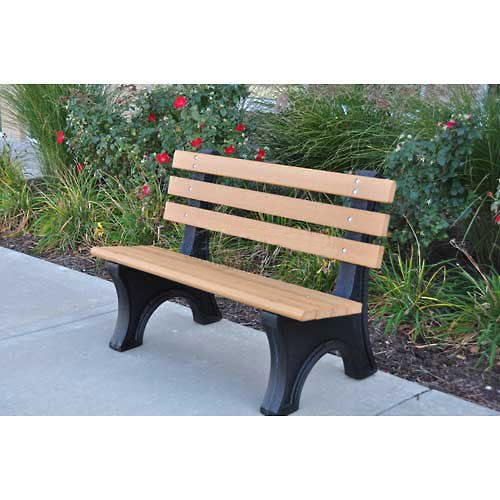 JP 4' Comfort Park Avenue Bench, Recycled Plastic, Gray