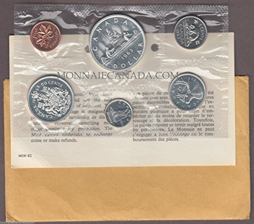CA 1963 Canada Proof Like Silver Proof Set 6-Coin Uncirculated Coin Set- w/Envelope Proof-Proof Like (Royal Canadian Mint Coin Sets)
