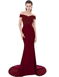 ffe04d459f0 JASY Women Elegant V-Neck Backless Burgundy Long Lace Mermaid Evening Prom  Dress with Beads