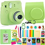 FujiFilm Instax Mini 9 Camera and Accessories Bundle - Instant Camera, Carrying Case, Color Filters, Photo Album, Stickers, Selfie Lens + MORE (Lime Green)