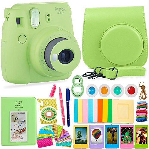 FujiFilm Instax Mini 9 Camera and Accessories Bundle - Instant Camera, Carrying Case, Color Filters, Photo Album, Stickers, Selfie Lens + MORE (Lime - Kids For Polaroid