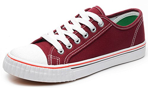 Odema Women Lace Up Canvas Shoes Fashion Sneakers Classic Casual Preppy Style Flat Shoes WineRed