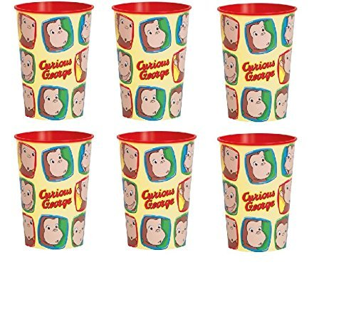 16 oz Curious George Plastic Cup Set of 12 Great For Birthday Party - Birthday George Curious Favors