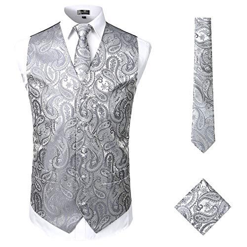 ZEROYAA Mens Classic 3pc Jacquard Paisley Vest Set Necktie Pocket Square Waistcoat for Suit or Tuxedo ZLSV08 Gray Small