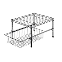 Honey-Can-Do Adjustable Shelf with Under Cabinet Organizer, 14.75 x 17.5, Chrome