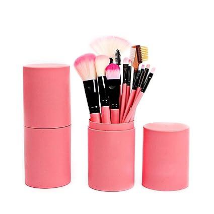 Juego de 12 brochas de maquillaje con estuche profesional para maquillaje para base de polvo, sombra de ojos, delineador de ojos, labios, color rosa