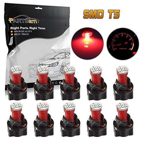 Partsam 10Pcs Red T5 Instrument Gauge Panel Cluster 3-3014-SMD LED Light Bulb w/Lock Socket