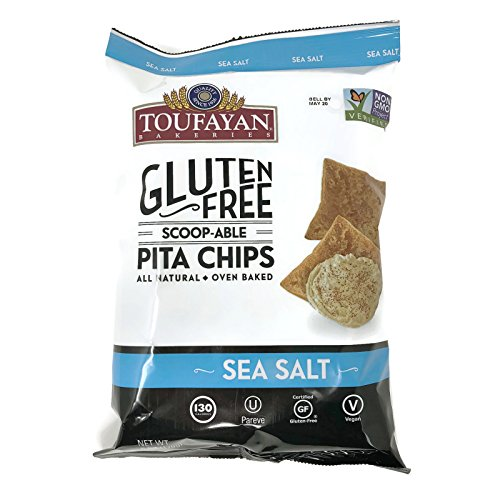 Toufayan - Gluten Free All Natural Vegan Baked Pita Chips, 6 Ounce Bags (Set of 2) (Sea Salt)