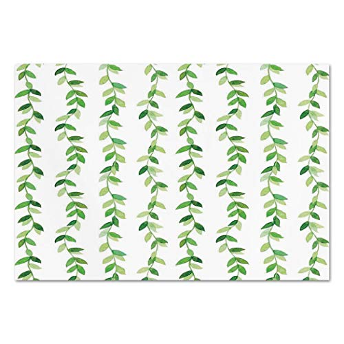 Large Wall Mural Sticker [ Leaves,Vivid Fresh Watercolor Ivy Branches and Leaves with Modern Natural Patterns Art Design,Green ] Self-adhesive Vinyl Wallpaper / Removable Modern Decorating Wall ()