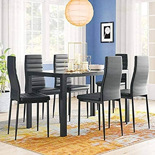 Amazon Com 7 Piece Kitchen Room Glass Top Dining Table Set W 6 Leather Chairs Black Modern Contemporary Rectangle Finish Home Kitchen
