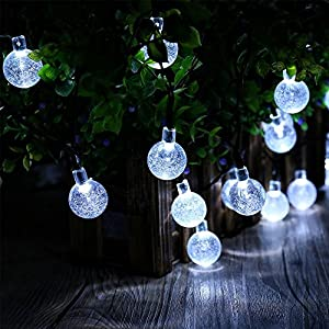 DecorNova 19.7 Feet 30-LED Solar String Lights Outdoor Crystal Ball Fairy Lights,Cool White