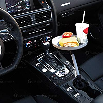 Zone Tech Car Swivel Tray and Storage Bin - Premium Quality 360-Degree Swivel Tray and Storage Bin Fits Most Car Cup Holder: Automotive