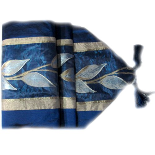 BEAUTIFUL THAI SILK TABLE/BED RUNNER 76 INCHED X 14 INCHES RAISED LEAF PATTERN (Raised Pattern Leaf)