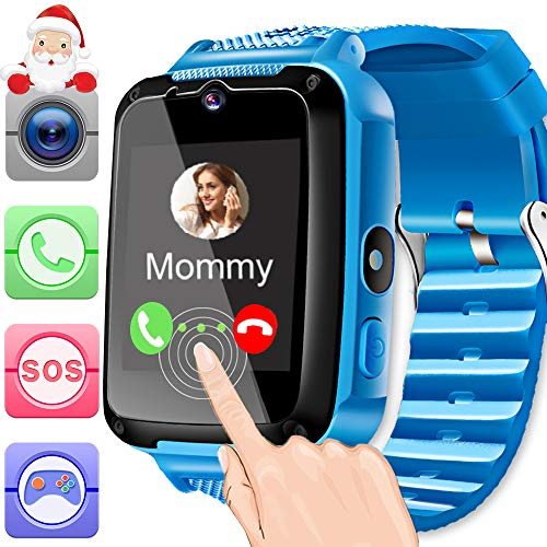 Kids Smart Watch Phone Blue for Girls Boys Toddlers with 1.44 HD Touch Screen 2 Way Call Camera SOS Clock Game Flashlight Wristband Cellphone Watch Christmas Birthday Electronic Learning Gifts