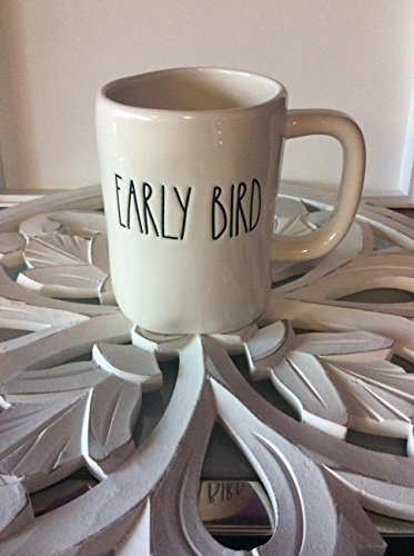 - Rae Dunn Artisan Collection White Ceramic Large Letter Early Bird Mug- 16oz