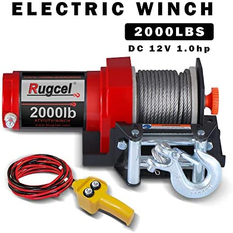 Load Capacity Electric Winch Waterproof IP67 Single Line Portable Winch All Orange TYT New 2000 lb 12V Winch with Steel Cable and Wired Handle