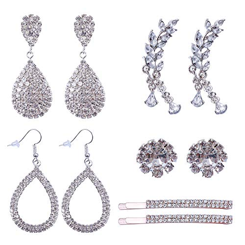 Rhinestone Hair Pins Fashion Crystal Drop Dangle Earring Silver Plated Leaves Ear Cuffs Ear Wrap Stud Earring for Women Bridal Wedding Jewelry,5 Pairs