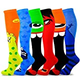 TeeHee Novelty Cotton Knee High Fun Socks 6-Pack for Women (Monsters)