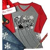 Women Christmas Xmas Believe Snowflake Reindeer Shirt V Neck Baseball T-Shirt Size M (Red)