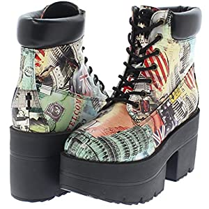 Shoe Republic Chunky Platform Lace Up Ankle Work Boots Adam (Multi 9)