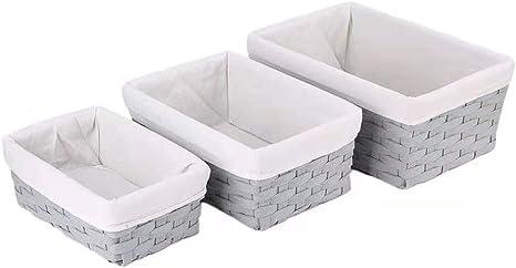 Amazon Com Hosroome Handmade Bathroom Storage Baskets Set Shelf Baskets With Liner Woven Decorative Home Storage Bins Decorative Baskets Organizing Baskets Nesting Baskets Set Of 3 Grey