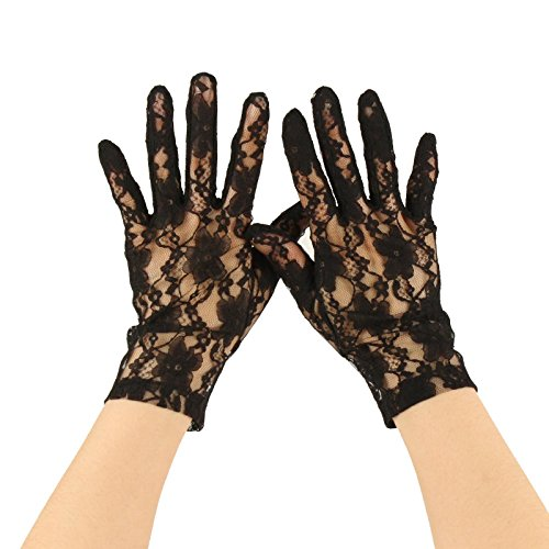 Sexy Floral Sheer Lace Tea Party Vintage Style Short Wrist Dressy Gloves Black (Black Nylon Gloves Sheer)