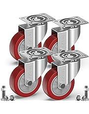 GBL® 4 Zwenkwielen 100mm + Schroeven | Zwaarlastwielen 600KG - Zwenkwielen Voor Meubels | Zwenkwieltjes voor een Trolley - Meubelzwenkwielen - Transportwielen
