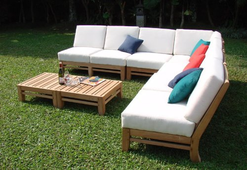 Amazon.com : New Luxurious 7 Piece Teak Sectional Sofa Set   2 Love Seats,  2 Lounge Chair, 1 Corner Pc, 1 Ottoman U0026 1 Side Table   Furniture Only     Delmar ...