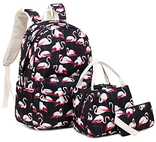 Hey Yoo 3pcs Laptop Backpack 3 Pieces Casual Hiking Daypack Bookbag School Bag Backpack Sets for Girls Women (Black Flamingo)