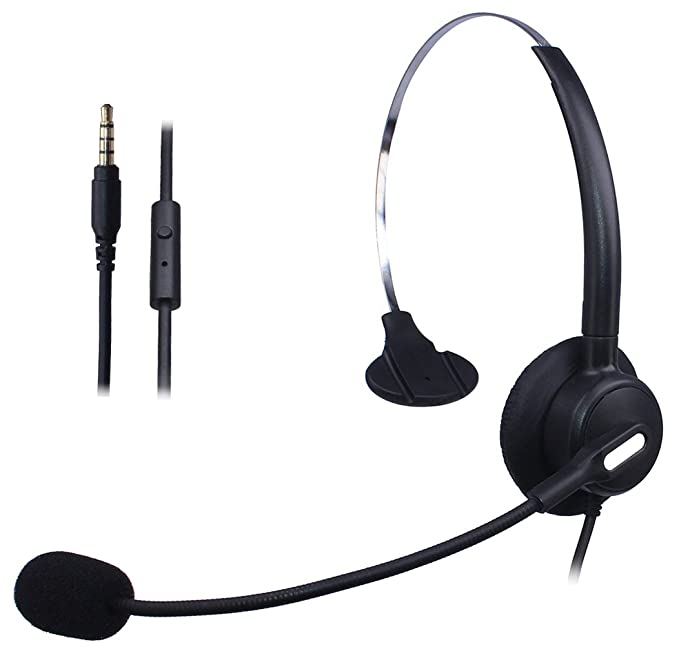 82361af341be95 Wantek, cuffie per telefono cellulare con filo e archetto regolabile +  cancellazione del rumore e microfono ...