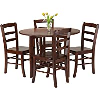 Winsome 5-Piece Alamo Round Drop Leaf Table with 4 Ladder Back, Brown