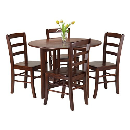 Winsome 5-Piece Alamo Round Drop Leaf Table with 4 Ladder Back, Brown (Dining Tables Antique Sale Round For)