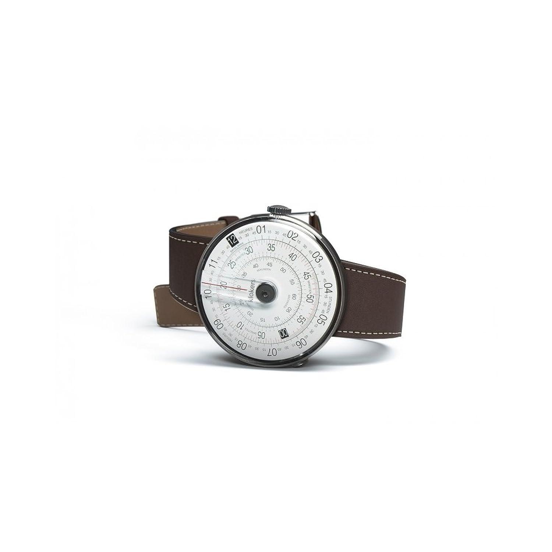 Uhren Klokers Swiss Made KLOK-1 Steel Case Black Point Brown Leather Strap K01-CPN-MR