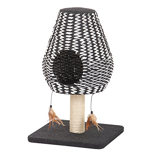 PetPals Contemporary Cat Furniture with Teaser, Black and White, (Post Cat Tree)
