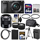 Sony Alpha A6000 Wi-Fi Digital Camera & 16-50mm with 50mm f/1.8 Lens + 64GB Card + Case + Battery/Charger + Tripod + Tele/Wide Lens Kit