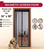 "Aloudy Magnetic Screen Door Fits Doors Up to 36"" x 98"" MAX, Full Frame Velrco Instant Mesh Curtain, Hands Free Bugs Off Door Screen with Magnets"