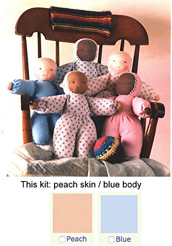 Waldorf Flannel Body Doll Kit (peach skin / blue flannel - Doll Kits Waldorf