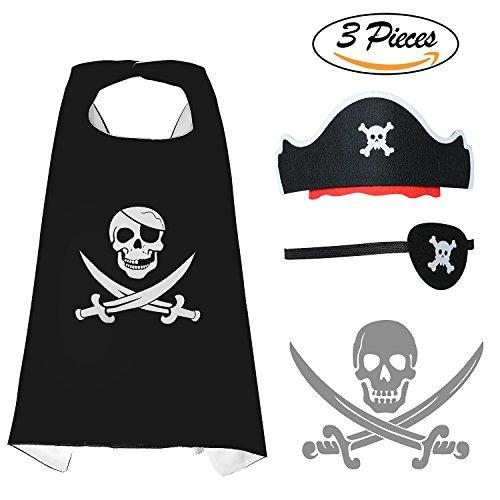 Pirate Headwear (Tacobear Pirate Costume Headwear Cape Eye Patch Halloween Cosplay Dress Up Accessories for Kids)